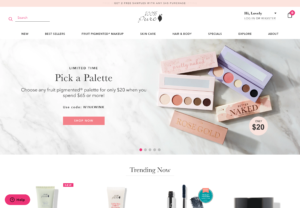 a beauty website, white and pink advertising makeup